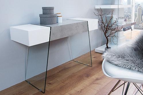 Console design Onyx blanc mat/béton et verre Bilard 120 cm
