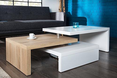 Table basse design Highclass 3 plateaux blanc laqué / bois sonoma