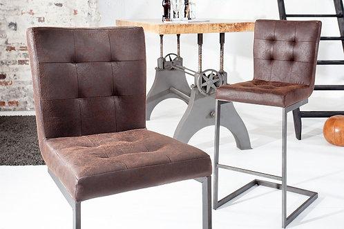 Tabouret de bar design Rider en cuir marron fer