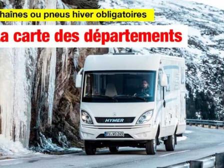 CHAÎNES OU PNEUS HIVER OBLIGATOIRES DÈS 2021 : LA CARTE DES DÉPARTEMENTS