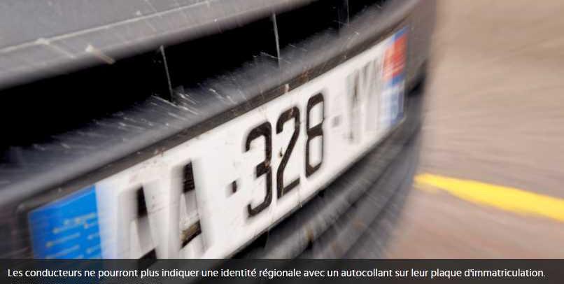 Les autocollants régionaux sur vos plaques d'immatriculation sont désormais interdits