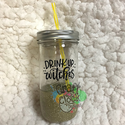 Glitter Dipped Mason Jar -drink up-