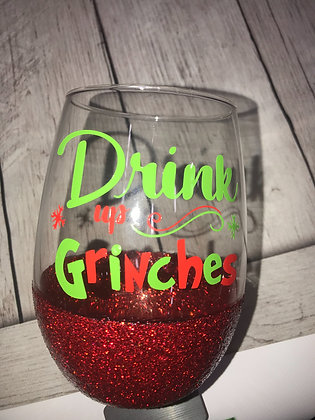 Glitter dipped sealed Stemless wine glass - Drink Up Grinches