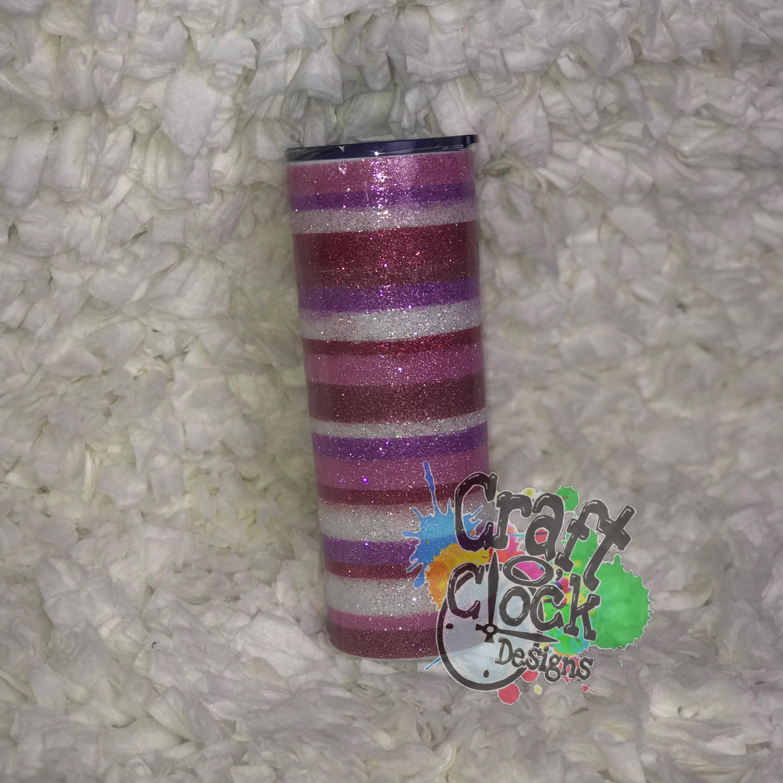 20oz Skinny Glitter Stripes Stainless Steel Tumbler w/straw