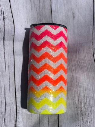 22oz Fatty Glitter Chevron Pattern Neon Colors