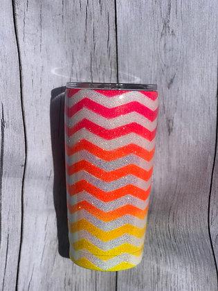 20oz Reg. Glitter Chevron Pattern Neon Colors