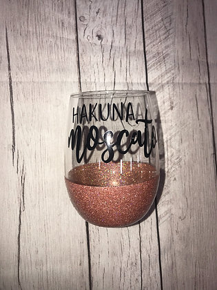Glitter Dipped stemless wine glass -Hakuna Moscato-
