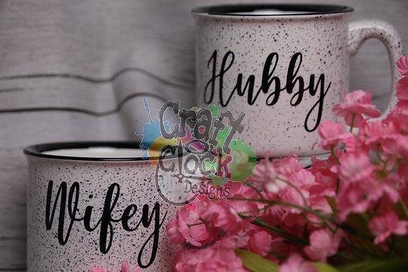 Wifey & Hubby Ceramic Campfire Mug Set of 2
