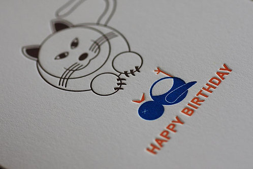 Cat Present Birthday Card