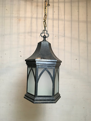 English Painted Tin Lantern in the Gothic Style c1930s