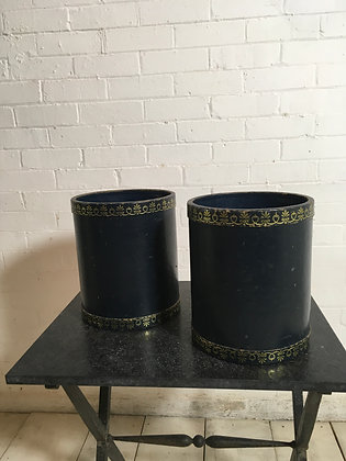 Pair English Leather Paper Bins c1920s