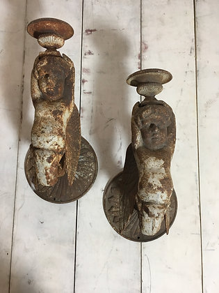 Pair Large Cast Iron Wall Sconses c1960 -1980s