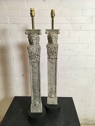 Pair Cast Iron Painted Columns Converted to lamps c1900