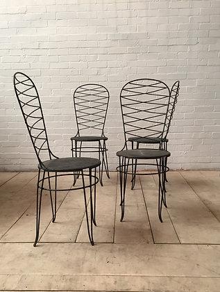 4 Mid Century Wrought Iron Garden Chairs c1960s