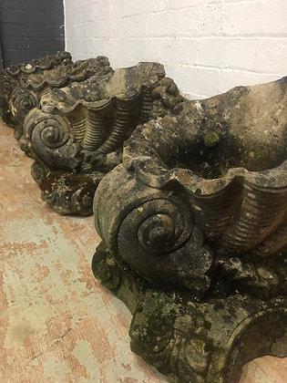 4 Composite Stone Cornucopia Urns