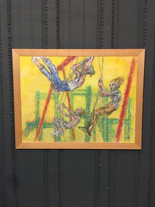 Oil Painting Boy on Swings  C2003