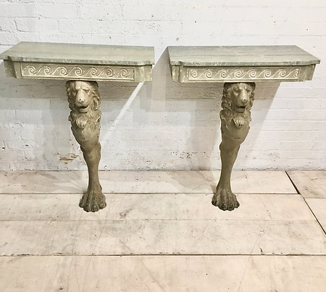 Pair of lion Monopod Console tables