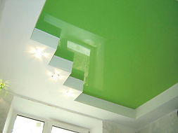 Green stretch ceiling interior