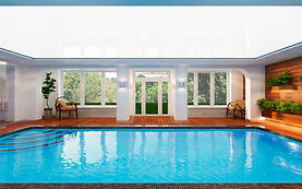 White ceiling in the swimming pools and spas