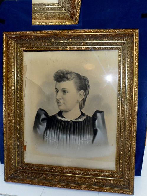 Early 1900s Portrait With Ornate Gilt Gesso Frame