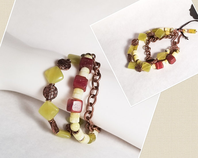Jadite Triple Layer Bracelet