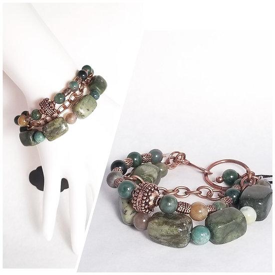 Green Agate Triple Layer Bracelet