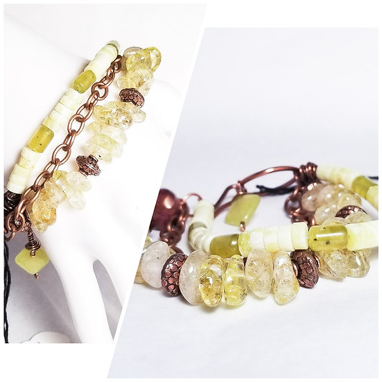 Quartz and Jadite Three Layer Bracelet