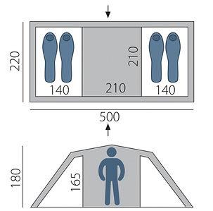 Палатка ARTEN Gemini 2-х комнатная схема