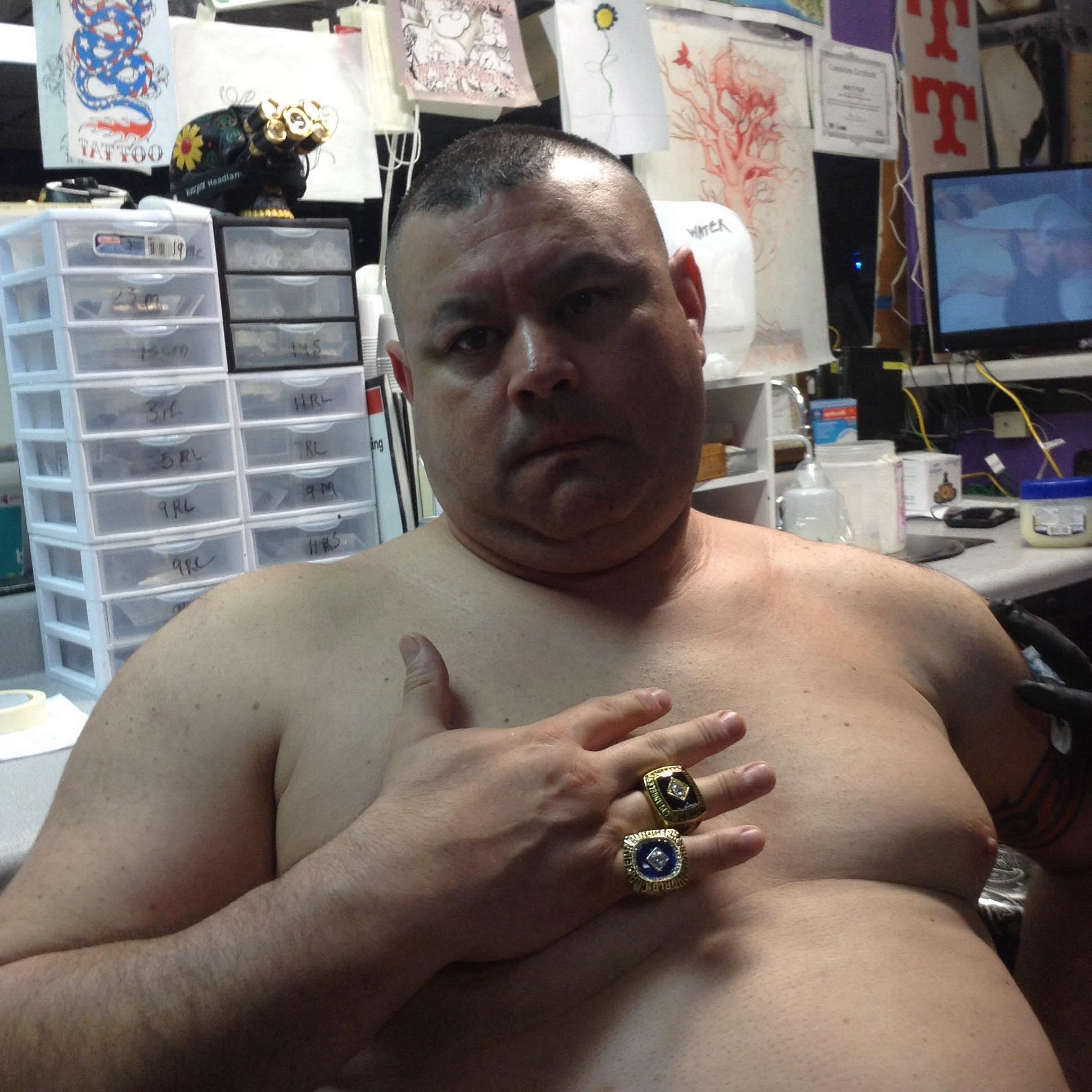 Astros Fan wearing Dodgers Rings