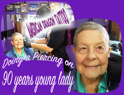 90 years young gets pierced