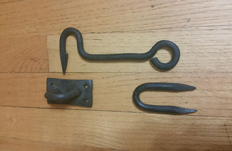 Hand-forged simple gate latch set.
