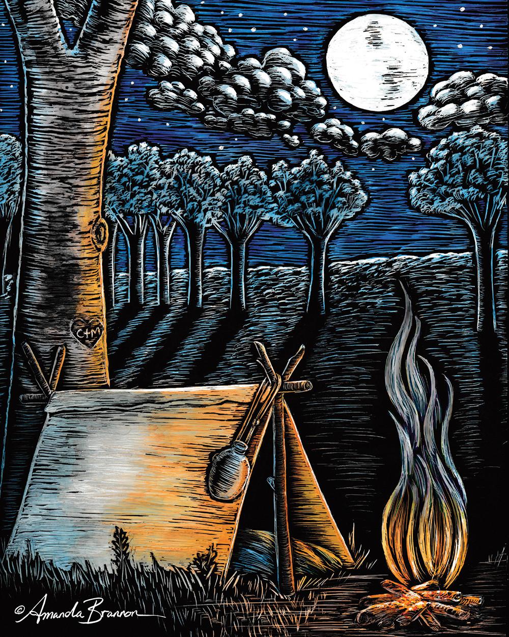 """Silent Night"" Original Clay Board Engraving ©Amanda Brannon"