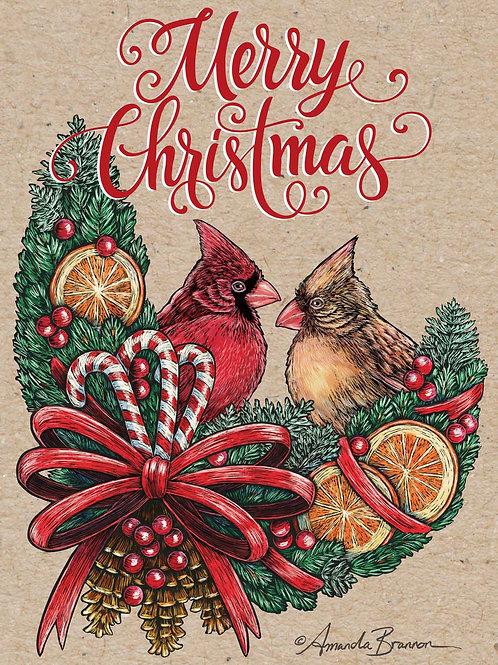 Christmas Cardinals - Art Cards  (Pack of 10)
