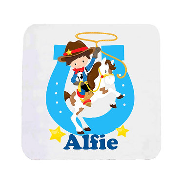 Personalised neoprene drink coaster cowboy in blue image front view