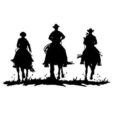 Horse vinyl decal sticker three cowboys riding horses front view