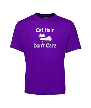 Adults t-shirt purple with cat hair don't care image front view