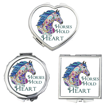 Compact mirrors in 3 shapes heart, round and square horses hold my heart image front view