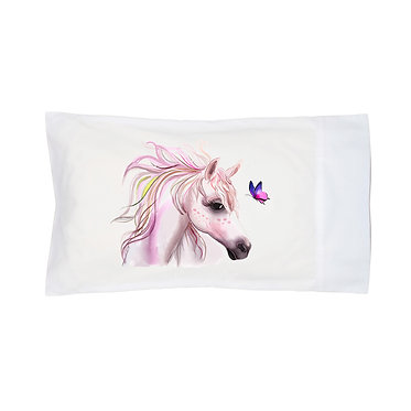 Pillowcase white horse and butterfly image front right view