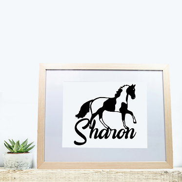 Rectangle wood picture frame personalized with text paint horse black and white image front view