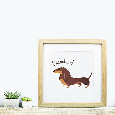 Small wood picture frame with dachshund cartoon dog image front view