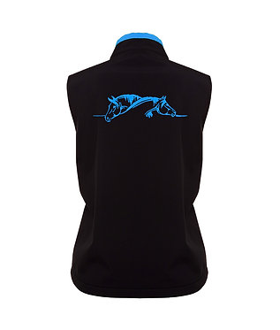 Black with aqua accents and horse image softshell vest back view
