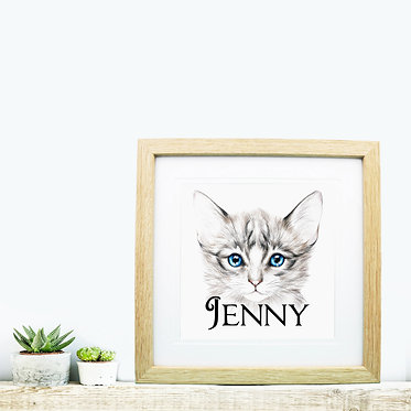 Square wood picture frame personalized with a blue eyed kitten image front view