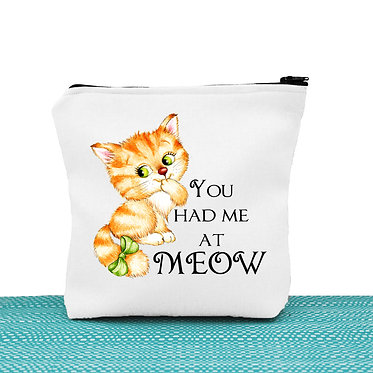 Cat theme cosmetic toiletry bag white cute kitty you had me at meow image front view
