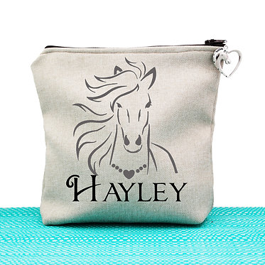 Tan cosmetic toiletry bag with zipper personalised horse with flowing mane black grey image front view