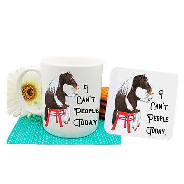 Ceramic coffee mug and drink coaster set with cartoon horse & quote I can't people today front view