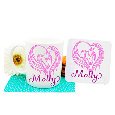 Personalised coffee mug and coaster set majestic horse hot pink image front view