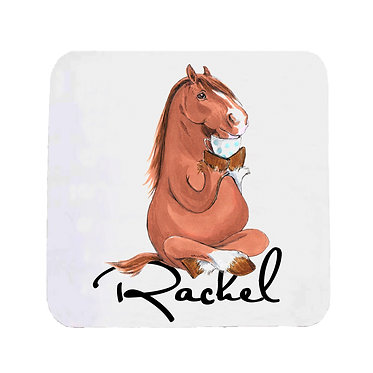 Personalised neoprene drink coaster sets personalised horse sitting cross-legged image front view