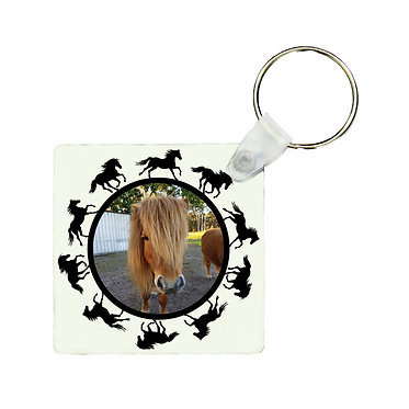 Square mdf wood key ring with round horse pattern personalized with photo front view
