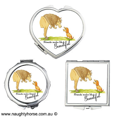 "Compact mirrors in 3 shapes heart, round and square horse and dog with quote ""friends make life beautiful"" image front view"