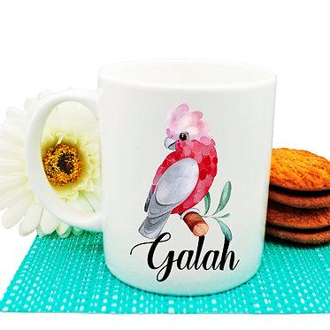 Ceramic coffee mug Australian parrot Galah image front view